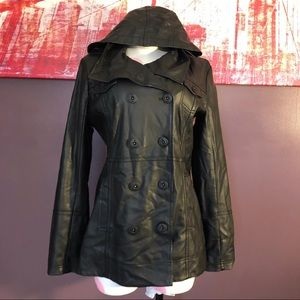 Hurley Faux Leather Hooded Jacket sz M